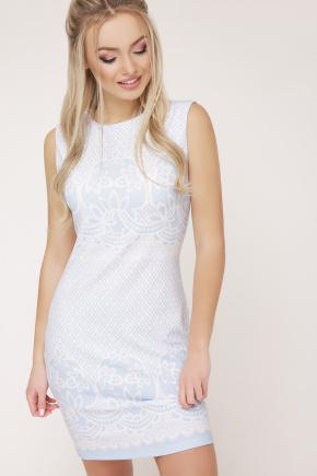 Узор голубой платье Лейла б/р. Цвет: белый