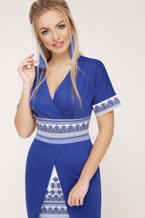Этно-украинский платье Аурика-П д/р. Цвет: электрик