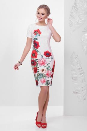 Кружево-маки платье Мальва к/р. Цвет: бежевый