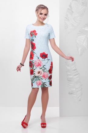Кружево-маки платье Мальва к/р. Цвет: бирюза