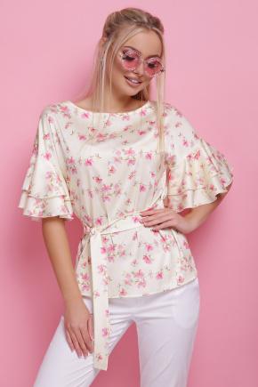 Цветы блуза Мирабель к/р. Цвет: желтый горох