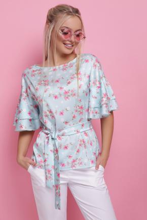 Цветы блуза Мирабель к/р. Цвет: мята горох