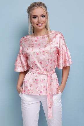 Цветы блуза Мирабель к/р. Цвет: персик горох