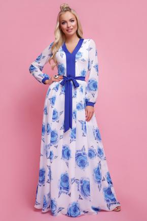 Роза синий платье Каролина д/р. Цвет: белый