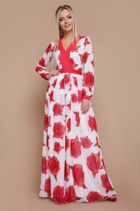 Роза красная платье Каролина д/р. Цвет: белый