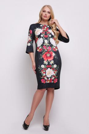 Букет маки платье Калоя-3Б КД  д/р. Цвет: принт