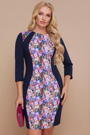 Цветы платье Кенди-Б д/р. Цвет: синий