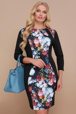 Цветы платье Кенди-Б д/р. Цвет: черный
