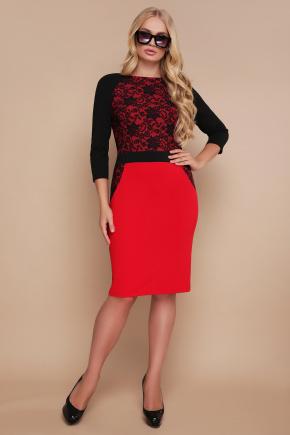 Узор черный платье Ксена-Б д/р. Цвет: красный