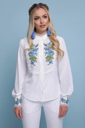Петриковская голубая блуза Дарина д/р. Цвет: белый