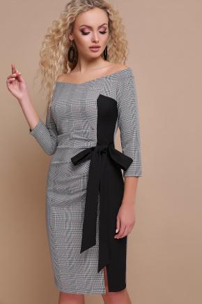 платье Кира д/р. Цвет: клетка серая-черная отд