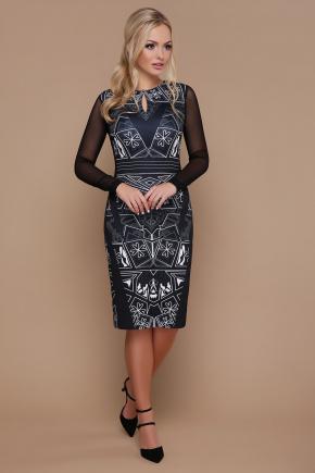 Геометрический узор платье Лина-2КС д/р. Цвет: черный