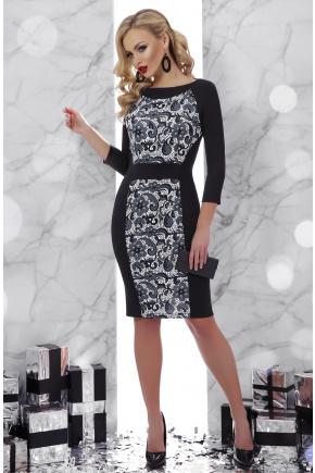 Узор черный Шанель-П платье д/р. Цвет: принт