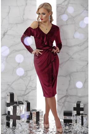 платье Валерия д/р. Цвет: бордо