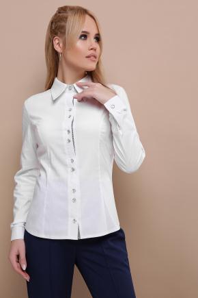 блуза Мариса д/р. Цвет: белый-клетка отделка