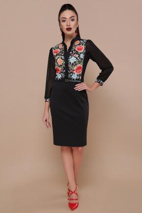 Розы платье Лилианна д/р. Цвет: черный