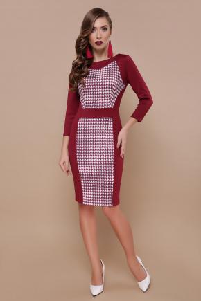 Бордо лапка Шанель-П платье д/р. Цвет: принт