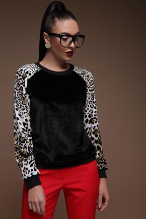 Леопард Свитшот №3 Реглан велюр д/р. Цвет: черный