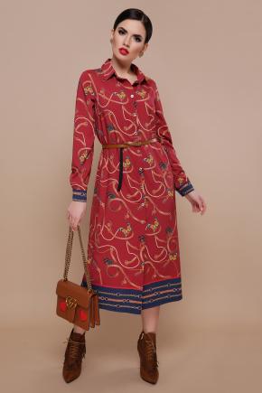 Ремешки-бабочки платье-рубашка Зарина д/р. Цвет: бордо