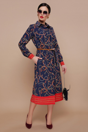 Ремешки-цепи платье-рубашка Зарина д/р. Цвет: синий
