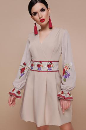 Розы платье Иванна К  д/р. Цвет: св. бежевый