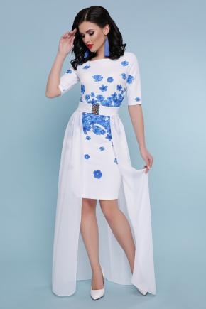 Голубые цветы платье Кейтлин к/р. Цвет: белый