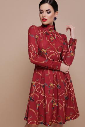 Ремешки-бабочки платье Эльнара д/р. Цвет: бордо