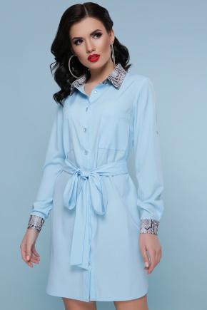 Питон платье-рубашка Аврора  д/р. Цвет: голубой
