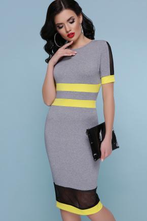 платье Лолита к/р. Цвет: серый-желтая отделка