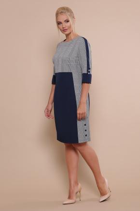 платье Рубина-Б 3/4. Цвет: синий-серая клетка