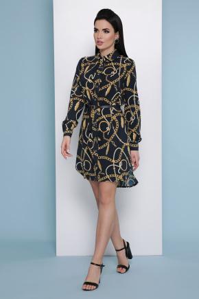 Перья-цепи платье-рубашка Аврора П д/р. Цвет: черный