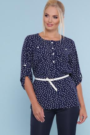 блуза Веста-Б 3/4. Цвет: синий - белый горох
