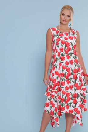 сарафан Сабина-Б. Цвет: белый-тюльпаны красные