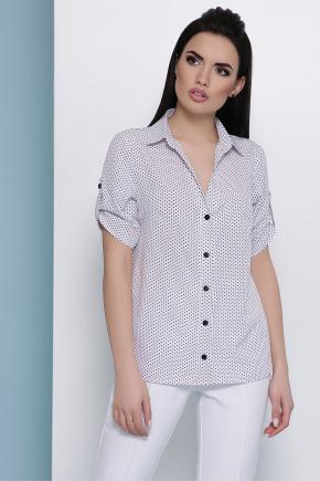 блуза Джейн к/р. Цвет: белый-черный м. горох