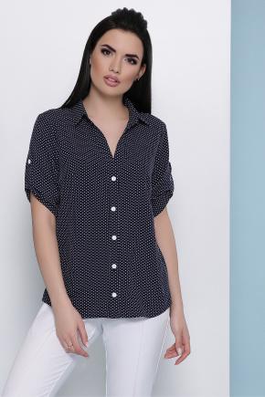 блуза Джейн к/р. Цвет: т.синий-белый м. горох