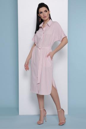 платье-рубашка Дарья к/р. Цвет: розовая полоска