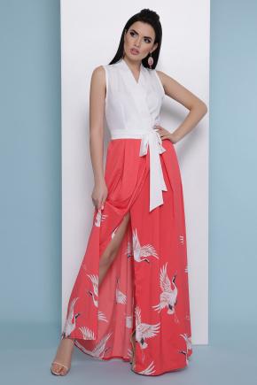 коралл Аисты платье Асия б/р. Цвет: белый