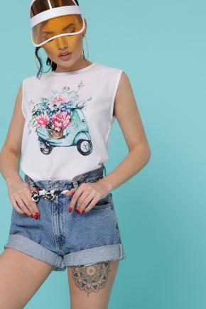 Мопед футболка Киви б/р. Цвет: белый