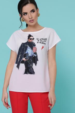 Девушка с кофе блуза Мира-2 б/р. Цвет: белый
