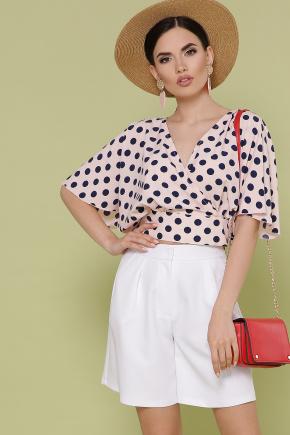 блуза Дора к/р. Цвет: персик-синий горох