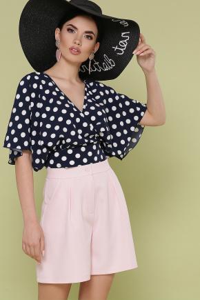 блуза Дора к/р. Цвет: синий - белый горох