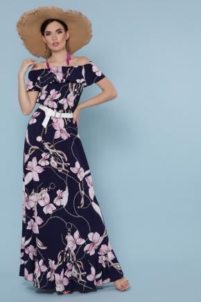 платье Рузанна б/р. Цвет: т.синий-цветы,цепи