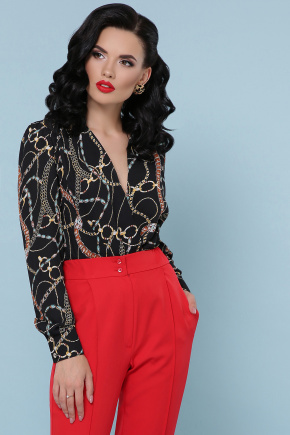 блуза-боди Карен-2 д/р. Цвет: цепи-украшения