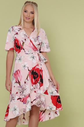 платье Алесия-Б к/р. Цвет: розовый-крупный цветок