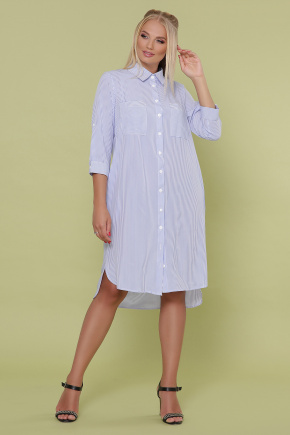 платье Валентия-Б 3/4. Цвет: голубая м.полоска