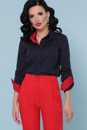 блуза Венди д/р. Цвет: синий-бел.м.горох-красн