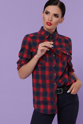 блуза Пальмира д/р. Цвет: клетка красн-зелен-синий