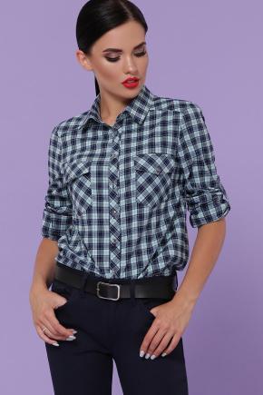 блуза Пальмира д/р. Цвет: клетка синий-мята-красн
