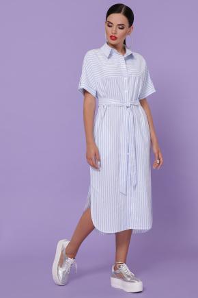 платье-рубашка Дарья-3 к/р. Цвет: голубая полоска