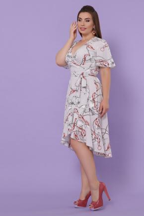 платье Алесия-Б к/р. Цвет: серый-цветы,цепи